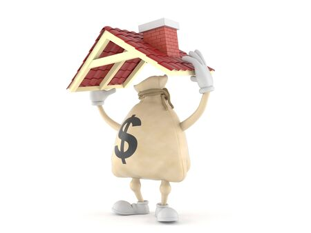 Dollar money bag  character holding roof isolated on white background. 3d illustration Фото со стока