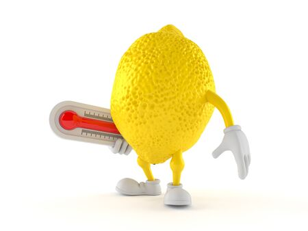 Lemon character holding thermometer isolated on white background. 3d illustration
