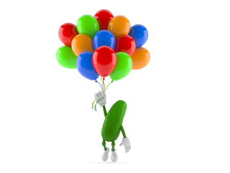 Cucumber character flying with balloons isolated on white background. 3d illustration Stok Fotoğraf