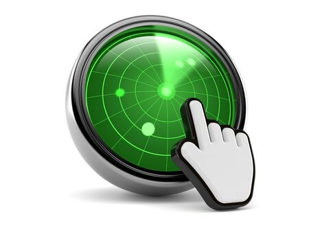 Radar with web cursor isolated on white background. 3d illustration