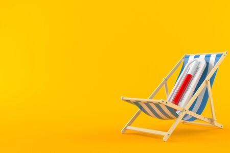 Thermometer on deck chair isolated on orange background. 3d illustration Reklamní fotografie