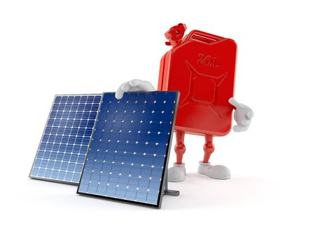 Petrol canister character with photovoltaic panel isolated on white background. 3d illustration Archivio Fotografico - 127864418