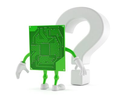 Circuit board character looking at question mark symbol isolated on white background. 3d illustration