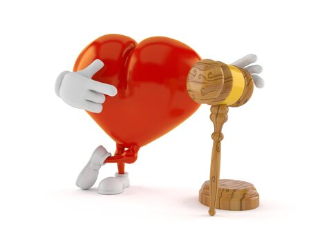 Heart character with gavel isolated on white background. 3d illustration