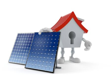 House character with photovoltaic panel isolated on white background. 3d illustration Archivio Fotografico - 127864357