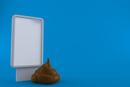 Dung poo with blank billboard isolated on blue background. 3d illustration Imagens
