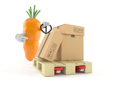Carrot character with hand pallet truck with cardboard boxes isolated on white background. 3d illustration 写真素材