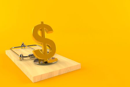Dollar currency with mousetrap isolated on orange background. 3d illustration