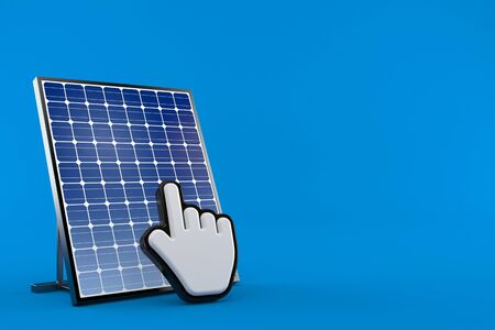 Photovoltaic panel with web cursor isolated on blue background. 3d illustration Archivio Fotografico - 127799005