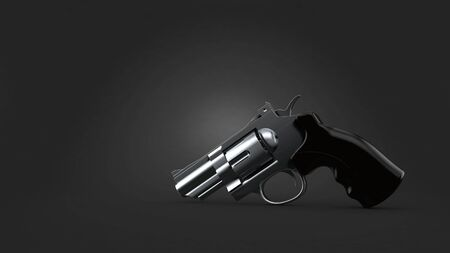 Gun on gray background. 3d illustration Stock fotó