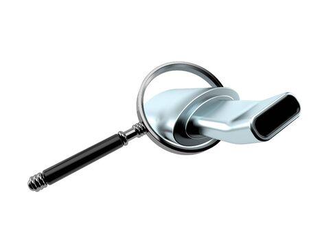 Muffler inside magnifying glass isolated on white background. 3d illustration