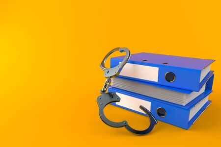 Ring binders with handcuffs isolated on orange background. 3d illustration