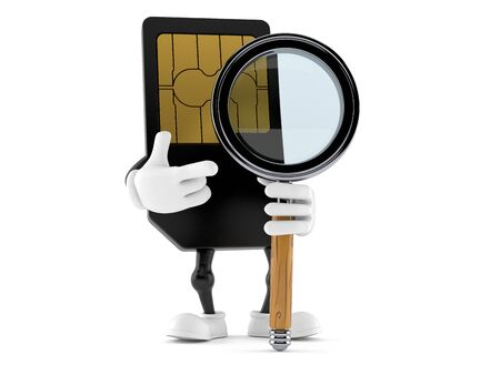 SIM card character with magnifying glass isolated on white background. 3d illustration
