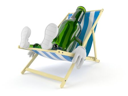 Green glass bottle character lying on deck chair isolated on white background. 3d illustration