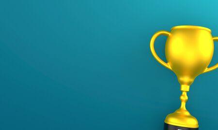 Golden trophy on blue background. 3d illustration