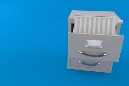 Radiator inside archive isolated on blue background. 3d illustration