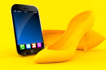 Femininity background with smart phone in orange color. 3d illustration