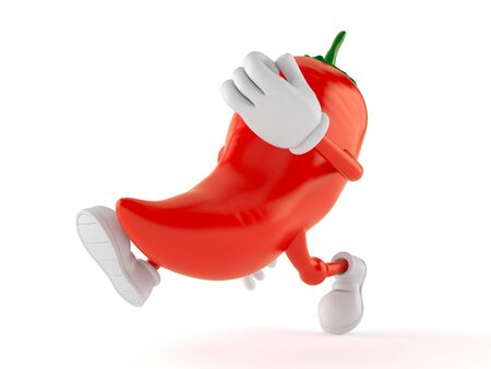 Hot paprika character running isolated on white background. 3d illustration Фото со стока