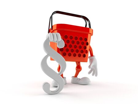 Shopping basket character with paragraph symbol isolated on white background. 3d illustration