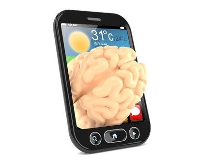 Brain inside smartphone isolated on white background. 3d illustration