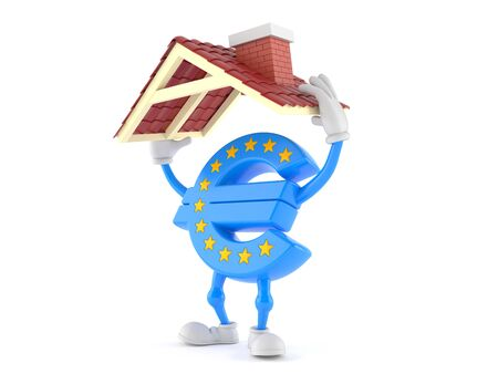 Euro currency character holding roof isolated on white background. 3d illustration Фото со стока