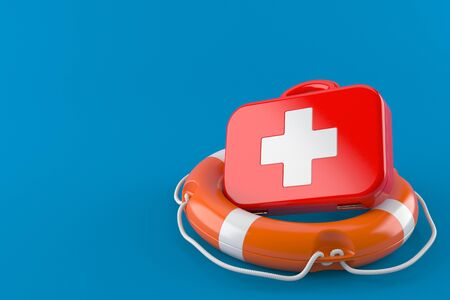 First aid kit with life buoy isolated on blue background. 3d illustration Foto de archivo