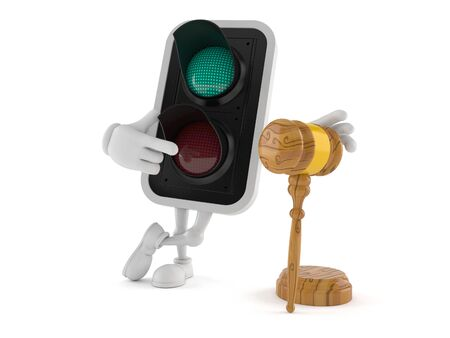 Green traffic light character with gavel isolated on white background. 3d illustration