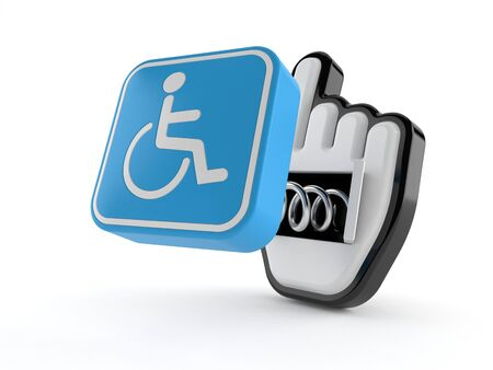 Handicap symbol with web cursor isolated on white background. 3d illustration