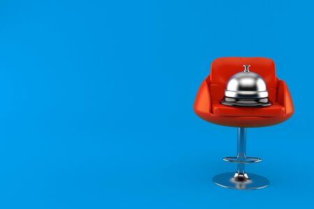 Hotel bell on barbershop chair isolated on blue background. 3d illustration 스톡 콘텐츠
