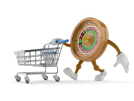 Roulette character with shopping cart isolated on white background. 3d illustration