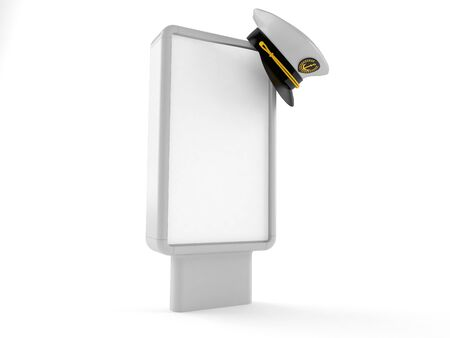 Captains hat with blank billboard isolated on white background. 3d illustration
