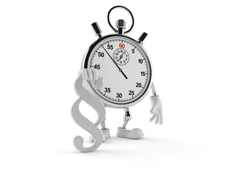 Stopwatch character with paragraph symbol isolated on white background. 3d illustration