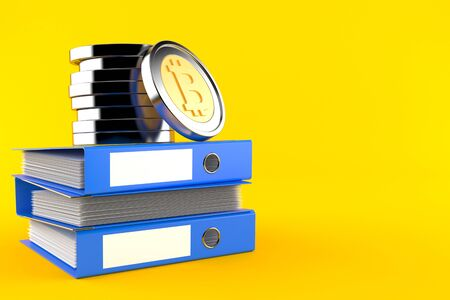Bitcoins on stack of ring binders isolated on orange background. 3d illustration