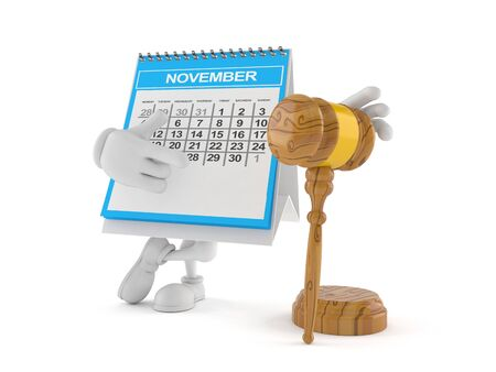 Calendar character with gavel isolated on white background. 3d illustration