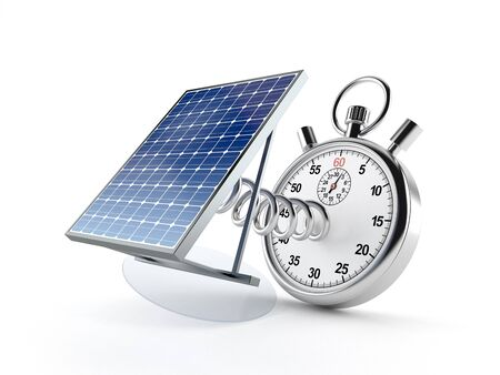 Photovoltaic panel with stopwatch isolated on white background. 3d illustration Archivio Fotografico - 128296023