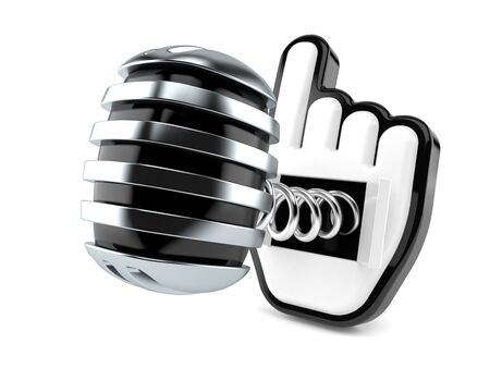 Microphone with cursor isolated on white background. 3d illustration Stock Photo