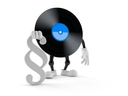 Vinyl character with paragraph symbol isolated on white background. 3d illustration