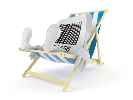 Barcode character lying on deck chair isolated on white background. 3d illustration