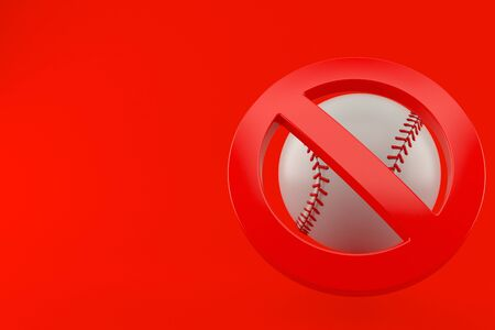 Baseball ball with forbidden symbol isolated on red background. 3d illustration Stock Photo