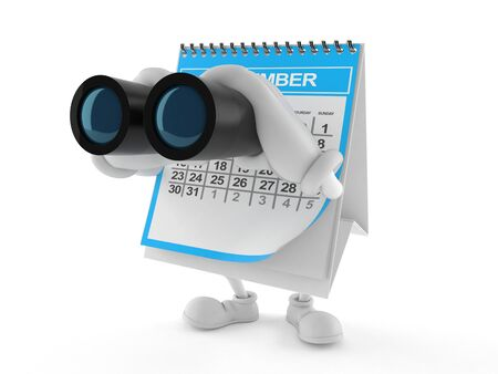 Calendar character looking through binoculars isolated on white background. 3d illustration