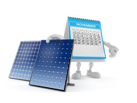 Calendar character with photovoltaic panel isolated on white background. 3d illustration Imagens