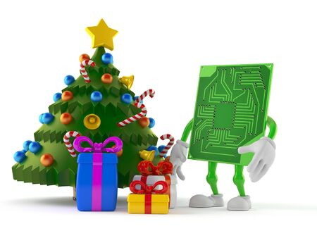 Circuit board character with christmas tree and gifts isolated on white background. 3d illustration
