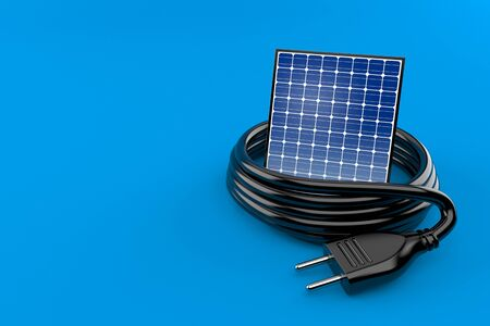 Photovoltaic panel with electric plug isolated on blue background. 3d illustration Archivio Fotografico - 128580379