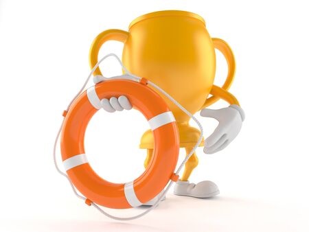 Golden trophy character holding life buoy isolated on white background. 3d illustration Imagens