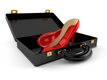 Red heels inside open briefcase isolated on white background. 3d illustration 版權商用圖片 - 128580385