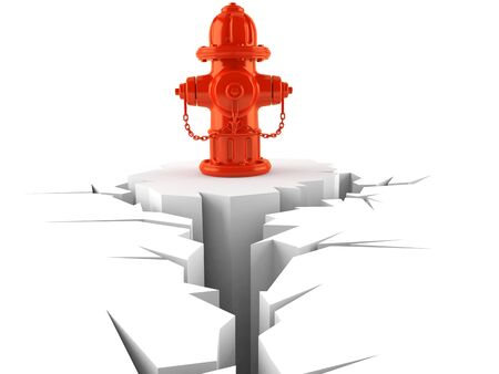 Fire hydrant with cracked hole isolated on white background. 3d illustration