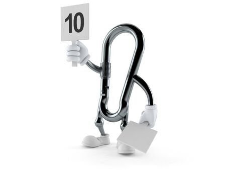 Carabiner character with rating number isolated on white background. 3d illustration
