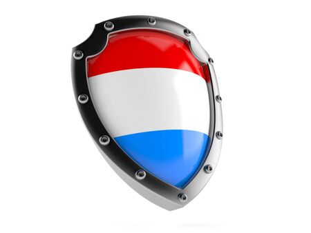 Protective shield with luxembourg flag isolated on white background. 3d illustration Reklamní fotografie - 128580479
