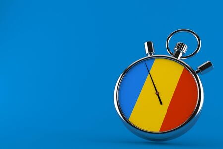 Stopwatch with romanian flag isolated on blue background. 3d illustration Imagens