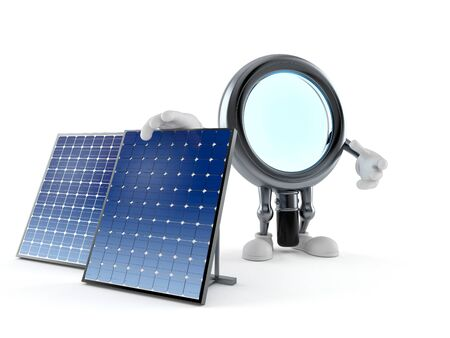 Magnifying glass character with photovoltaic panel isolated on white background. 3d illustration